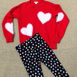 Crewcuts hearts sweater and leggings set sz 6-7